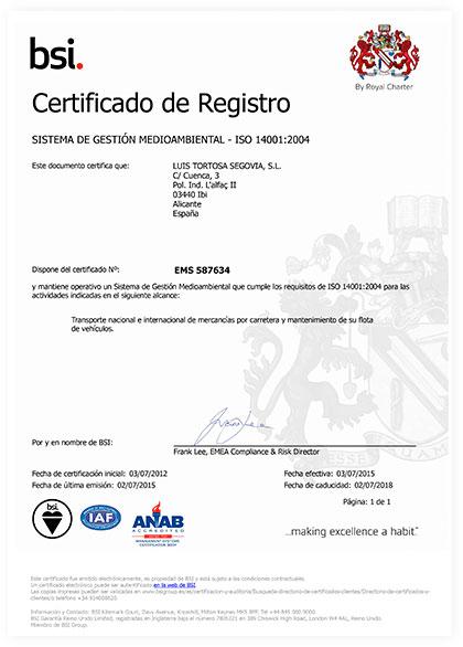 Certificado medioambiental